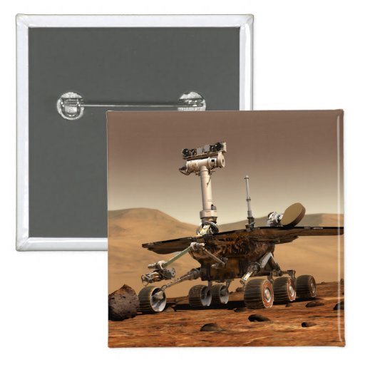 Artist's Rendition of Mars Rover 2 Inch Square Button