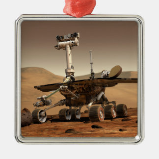 Artist's Rendition of Mars Rover Square Metal Christmas Ornament