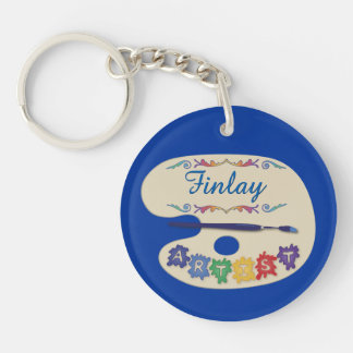 Artists Signature Painting Palette Double-Sided Round Acrylic Keychain