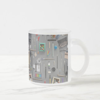 Artist's supplies frosted glass coffee mug