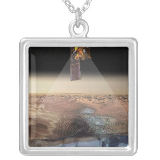 Artist's View of Odyssey Detecting Ice Square Pendant Necklace