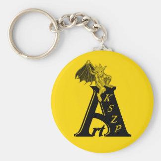ArtKSZP logo con Golem pequeño design negro amaril Llavero Redondo Tipo Pin