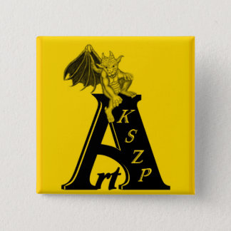 ArtKSZP logo with small GOLEM black yellow Design Pinback Button