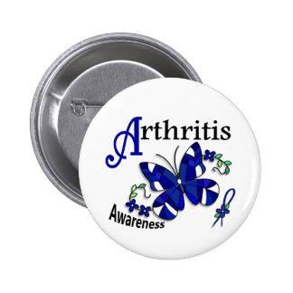 Artritis de la mariposa 2 del vitral pin redondo de 2 pulgadas