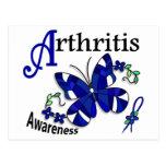 Artritis de la mariposa 2 del vitral tarjetas postales