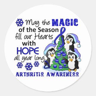 Artritis de los pingüinos del navidad etiqueta