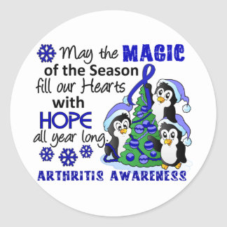 Artritis de los pingüinos del navidad pegatina redonda