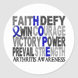 Artritis del collage de la palabra de la esperanza etiquetas redondas