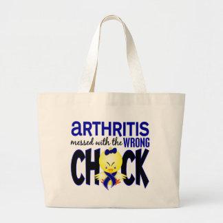 Artritis ensuciada con el polluelo incorrecto bolsa de tela grande