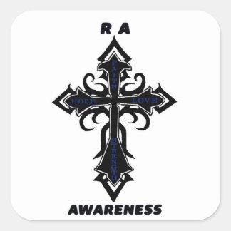Artritis reumatoide de la cruz/de la conciencia… pegatina cuadrada