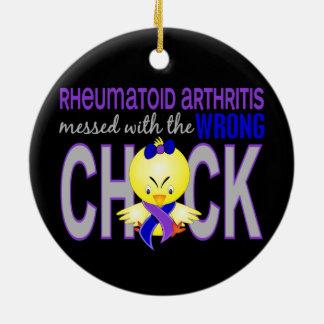 Artritis reumatoide ensuciada con el polluelo adorno redondo de cerámica