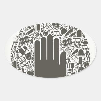 Arts a hand oval sticker
