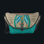 "Arts and Crafts Cranes (Personalized) Messenger Bag<br><div class=""desc"">Unique, eye-catching messenger bag features an adaptation of a Charles Voysey&#39;s designs when Arts &amp; Crafts evolved into Art Nouveau. Graceful blue &amp; aqua cranes, red blossoms &amp; emerald green stems forming a celtic inspired nest on a khaki background. Quotation by William Morris. Inscribed on bottom &quot;Custom Made for: (2...</div>"