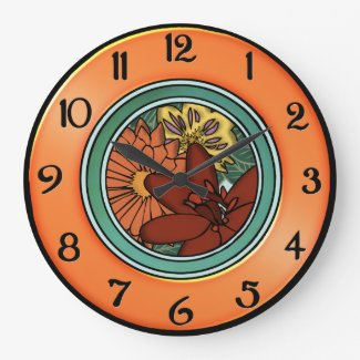 Arts and Crafts Flower Plate in Orange and Green Large Clock