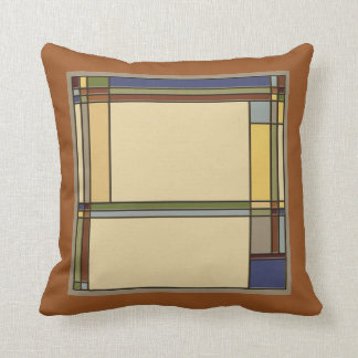 Arts and Crafts Geometric in Fall Colors Throw Pillow