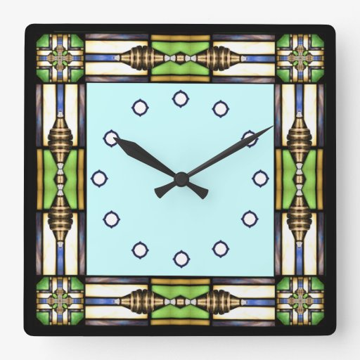 Arts and crafts glass style wall clock zazzle for Arts and crafts style wall clock
