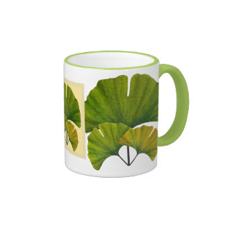 Arts and Crafts Movement Ginko Leaves Ringer Mug