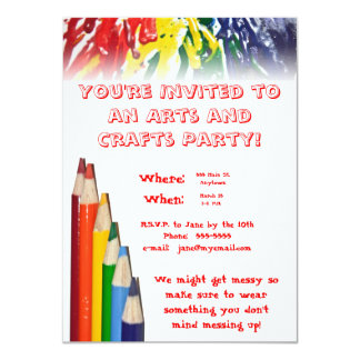 Arts and Crafts Party 4.5x6.25 Paper Invitation Card