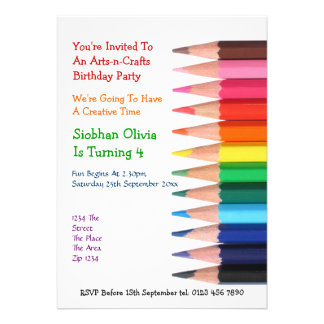 Arts and Crafts Pencil Personalized Invitations