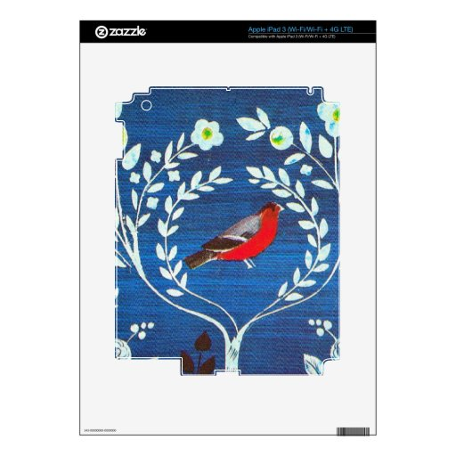 Arts and Crafts style bird Skin For iPad 3