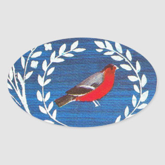 Arts and Crafts style bird Oval Stickers