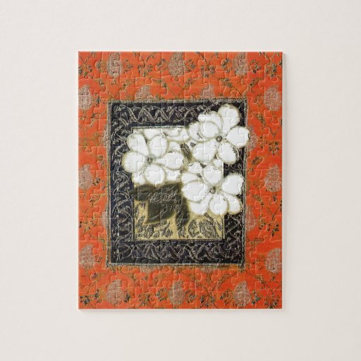 Book Cover Art And Craft : Arts and crafts style book cover with flowers jigsaw