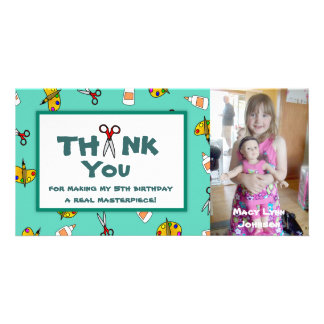Arts and Crafts Theme Photo Thank You Note Card