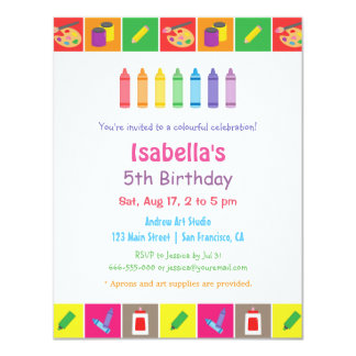 Arts and Crafts Themed Kids Birthday Party 4.25x5.5 Paper Invitation Card