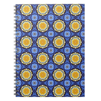 Arts and Crafts Tile Pattern in Blue and Yellow Spiral Notebook