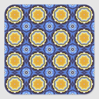 Arts and Crafts Tile Pattern in Blue and Yellow Square Sticker