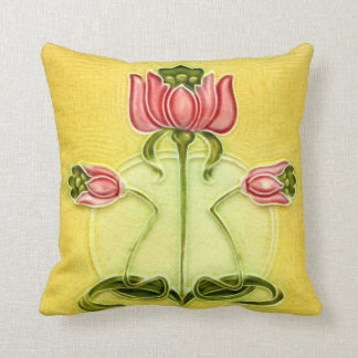Arts and Crafts Tile Rose Pillow
