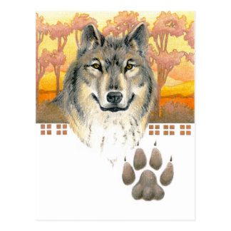 Arts and Crafts Wolf Postcard