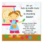 Arts & Crafts Birthday Party 5.25x5.25 Square Paper Invitation Card
