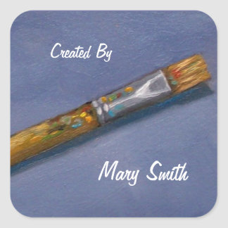 """Arts, Crafts """"Created By"""" Sticker: Old Paintbrush"""