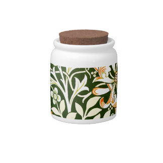 Arts Crafts Floral Design Candy Jars