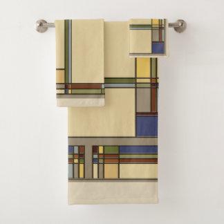 Arts & Crafts Geometric Pattern for Fall Bath Towel Set