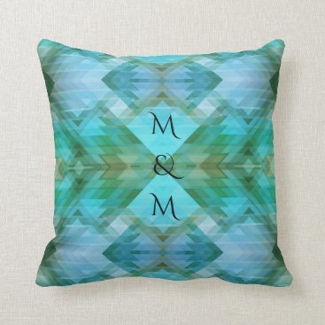 Aztec Themed Arts Crafts Geometric Pattern Mint Pillow