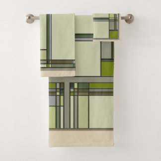 Arts & Crafts Geometric Patterns in Muted Greens Bath Towel Set