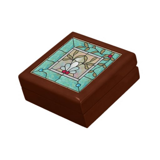Arts crafts inlaid tile with stained glass image gift for Glass boxes for crafts