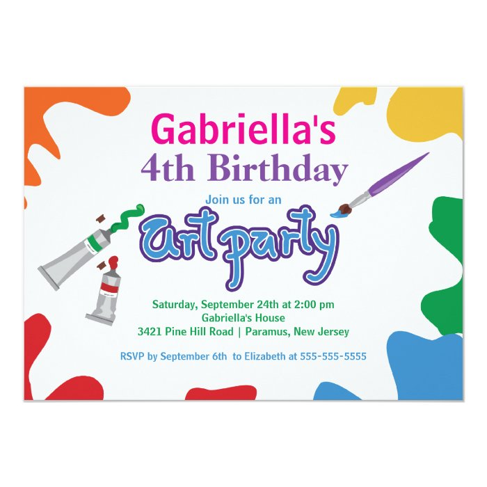 Arts & Crafts Kids Paint Birthday Party Card