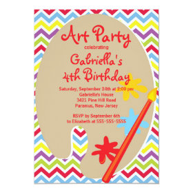 Arts & Crafts Kids Paint Birthday Party 5x7 Paper Invitation Card