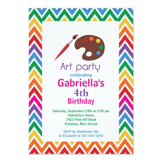 arts crafts kids paint birthday party invitation zazzle com