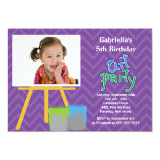 Arts & Crafts Kids Paint Photo Birthday Party Card