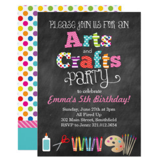 Arts & Crafts Party Chalkboard Style Invitation