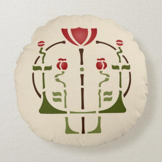 Arts & Crafts Poppy Stencil Round Pillow