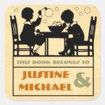 Arts & crafts style children's bookplate square sticker