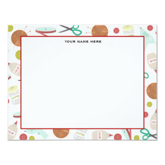 Arts & Crafts Themed Flat Notecards 4.25x5.5 Paper Invitation Card