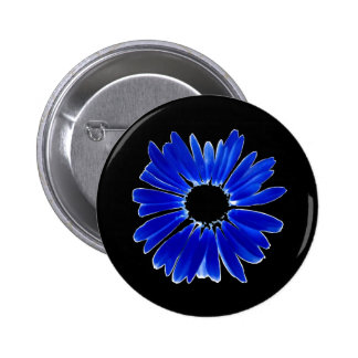 Artsy Abstract Blue Gerbera Daisy 2 Inch Round Button
