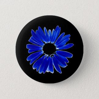 Artsy Abstract Blue Gerbera Daisy Button