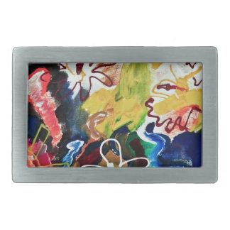 Artsy, abstract bohemian art belt buckles